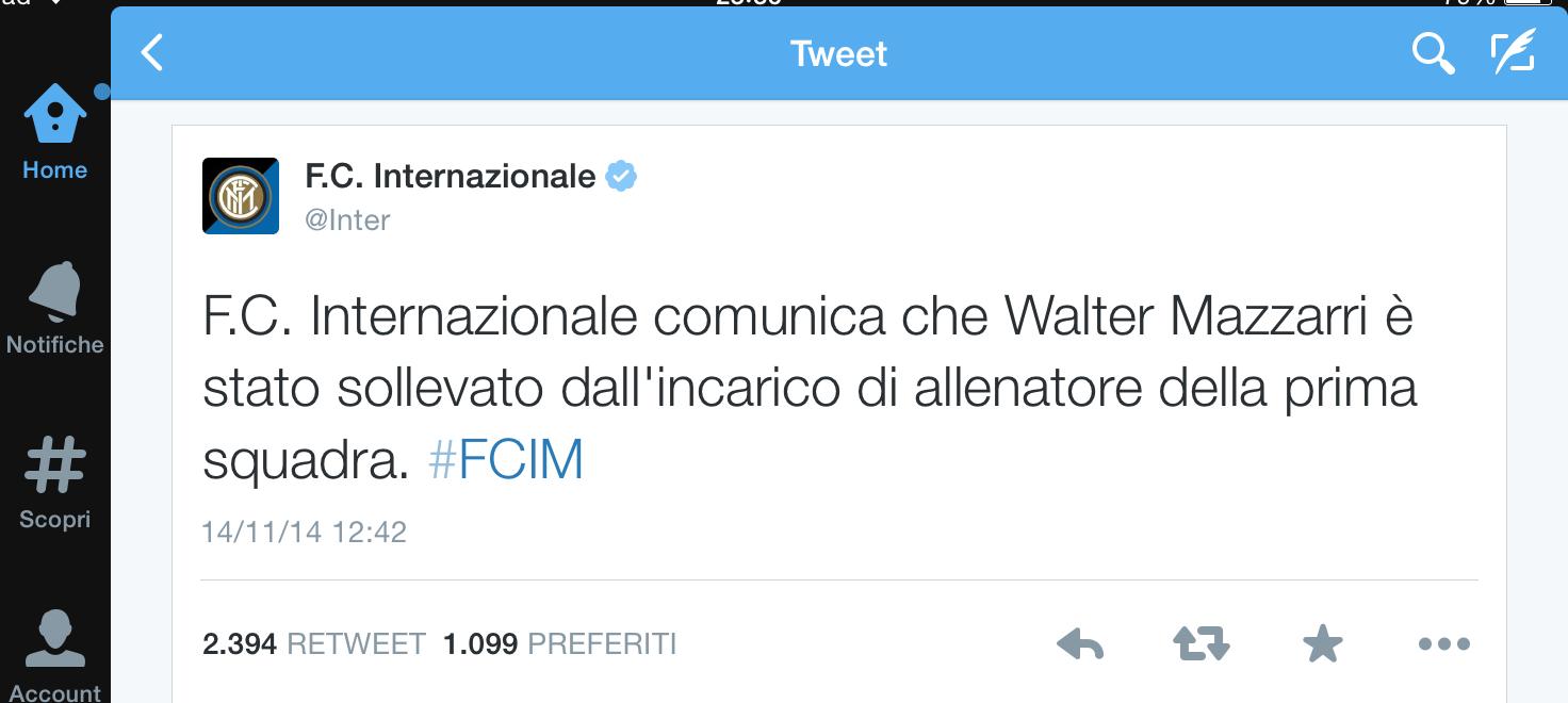 tweet esonero mazzarri